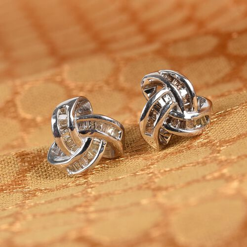 Champagne Diamond Triple Knot Stud Earrings (with Push Back) in Platinum Overlay Sterling Silver 0.25 Ct.