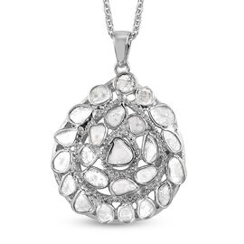 Artisan Crafted Polki Diamond Pendant With Chain (Size 18) in Platinum Overlay Sterling Silver 1.70