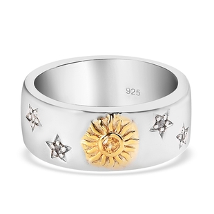 Yellow Sapphire and Natural Cambodian Zircon Band Ring in Platinum Overlay Sterling Silver, Silver W