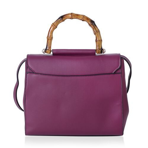 Super Reduction Deal Bamboo Handle Super Chic Handbag with Shoulder Strap (Size 26x23x11 Cm)
