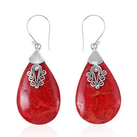 Royal Bali Collection - Coral (Pear) Hook Earrings in Sterling Silver.