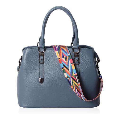 Premium Collection Super Soft 100% Genuine Leather Blue Colour Tote Bag with Removable Multi Colour Shoulder Strap (Size 31.5x22.5x13 Cm)
