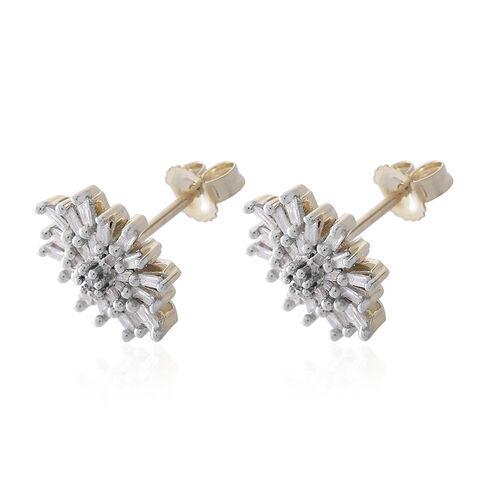 9K Yellow Gold SGL Certified Diamond (Rnd) (I3/G-H) Starburst Stud Earrings (with Push Back) 0.500 Ct.