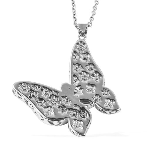 Murano Style Glass Enamelled Butterfly Pendant With Chain (Size 20) in Stainless Steel