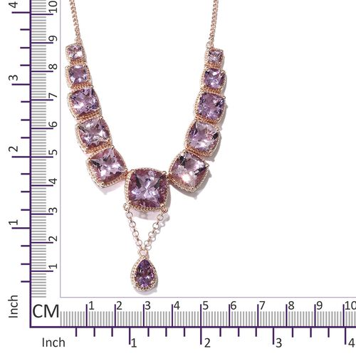 Red Carpet Collection- Very Limited Available- Rose De France Amethyst Necklace (Size 18 with 2 inch Extender) in Rose Gold Overlay Sterling Silver 37.250 Ct. Silver wt 22.80 Gms.