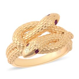 Burmese Ruby Snake Ring in Yellow Gold Plated Sterling Silver 6.85 Grams