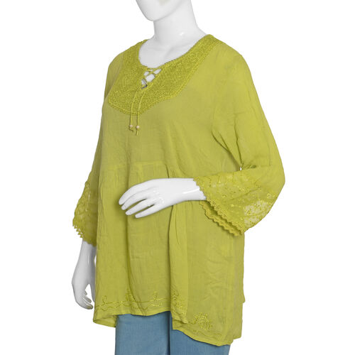 Mustard Colour Top with Embroidery (Free Size 81x58.5x50 Cm)