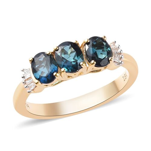 ILIANA 1.05 Ct AAA Monte Belo Indicolite and Diamond Trilogy Ring in 18K Gold 3.40 Grams SI GH