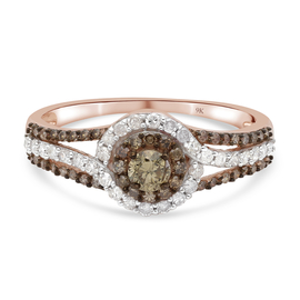 9K Rose Gold SGL Certified Natural Champagne Diamond (I3/ G-H) and White Diamond Ring 1.00 Ct.