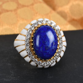 GP Lapis Lazuli, Natural Cambodian Zircon and Blue Sapphire Enamelled Ring in 14K Gold Overlay Sterling Silver 7.00 Ct.
