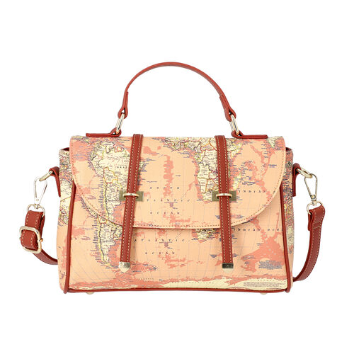 Close Out Deal- Satchel Bag with World Map Print and Adjustable Shoulder Strap (26.5x9x18.5cm) - Kha