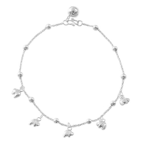 Sterling Silver Beads Anklet with Elephant Charms, Silver wt. 6.01 Gms.