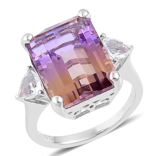 13.80 Ct Anahi Ametrine and White Topaz Trilogy Design Ring in Platinum Plated Silver