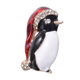 Christmas White Austrian Crystal Penguin Enamelled Brooch in Yellow Gold Tone
