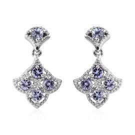 1.15 Ct Tanzanite Drop Earrings in Platinum Plated Sterling Silver
