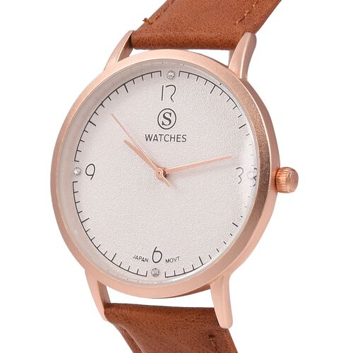 STRADA Japanese Movement Water Resistant White Austrian Crystal Studded Watch with Tan Colour Strap