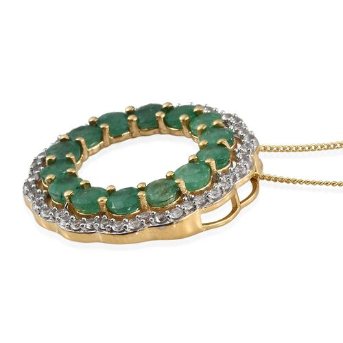 AA Kagem Zambian Emerald (Rnd), Natural Cambodian Zircon Circle of Life Pendant with Chain in 14K Gold Overlay Sterling Silver 4.500 Ct.