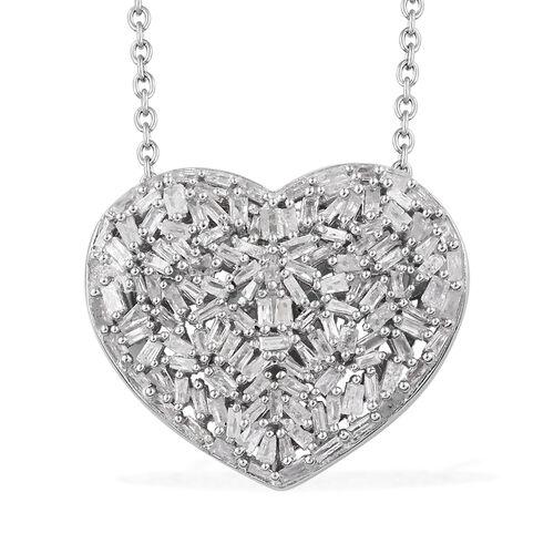 GP Diamond (Bgt), Kanchanaburi Blue Sapphire Heart Pendant with Chain (Size 20) in Platinum Overlay