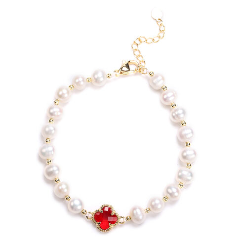 White Freshwater Pearl and Simulated Ruby Floral Charm Bracelet (Size 7.5 with 1.5 inch Extender) in