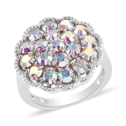 J Francis Crystal from Swarovski AB Crystal Cluster Ring in Silver Tone