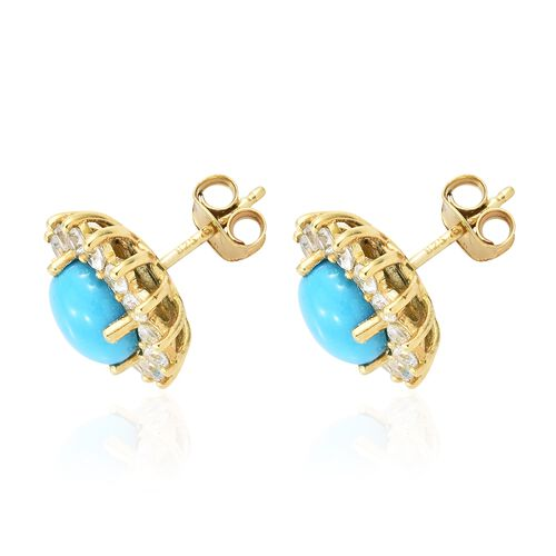 AAA Arizona Sleeping Beauty Turquoise (Rnd), Natural Cambodian Zircon Stud Earrings (with Push Back) in 14K Gold Overlay Sterling Silver 5.000 Ct.