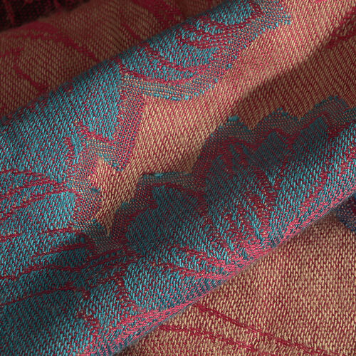 Close Out Deal- Salmon Pink, Green and Multi Colour Flower and Leaf Pattern Jacquard Scarf (Size 180x70 Cm)