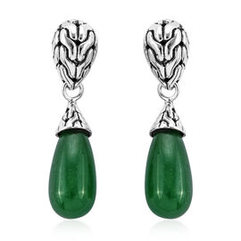 Royal Bali 18.46 Ct Green Jade Drop Earrings in Sterling Silver With Push Back