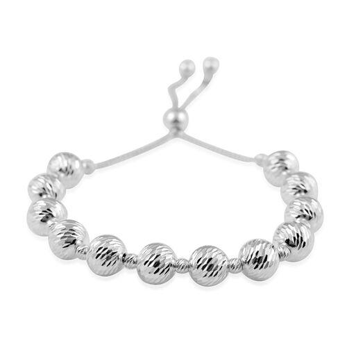 Sterling Silver Adjustable Beads Bracelet (Size 6.5-8.0), Silver wt 11.73 Gms