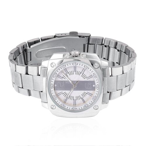 STRADA Japanese Movement White Dial Water Resistant Watch in Silver Tone with Stainless Steel Back