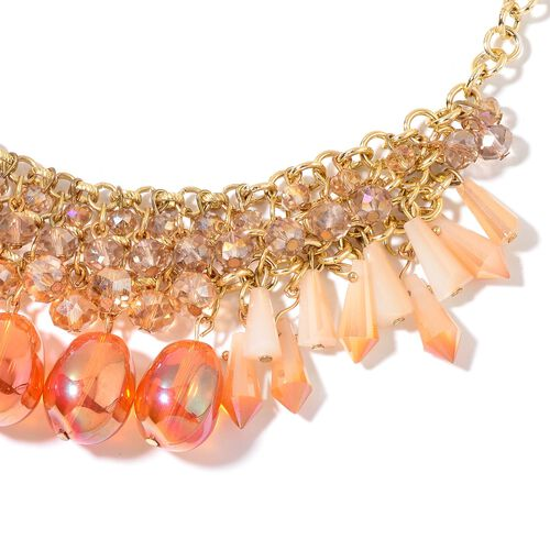 Simulated Fire Opal, Champagne and Multi Colour Beads Necklace (Size 18 with 2 inch Extender) and Hook Earrings in Yellow Gold Tone