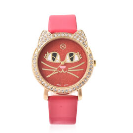 STRADA Japanese Movement White Austrian Crystal Studded Kitty Face Dial Water Resistant Watch with F