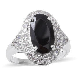 Boi Ploi Black Spinel (Ovl 4.85 Ct),Natural Cambodian White Zircon Ring in Sterling Silver 6.020 Ct,