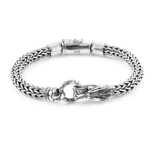 Royal Bali Collection - Sterling Silver Dragon Head Tulang Naga Bracelet (Size 7.5), Silver wt 51.63 Gms.