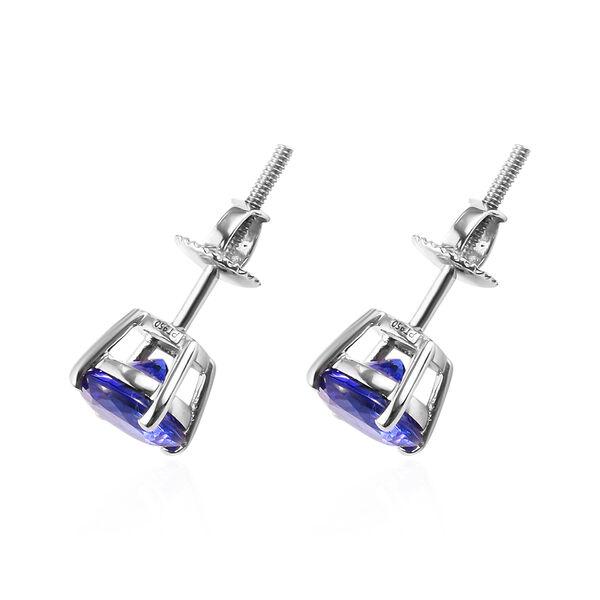 RHAPSODY 950 Platinum AAAA Tanzanite Solitaire Stud Earrings (with Screw Back) 3.00 Ct.