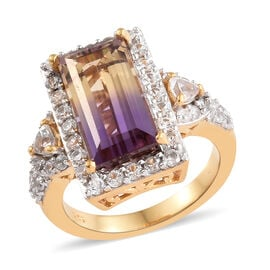Anahi Ametrine (Bgt), Natural White Cambodian Zircon Cluster Ring in 14K Gold Overlay Sterling Silve