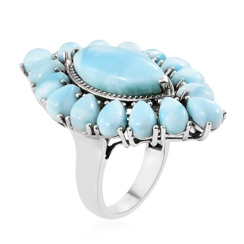 Larimar (Mrq 7.50 Ct) Ring in Platinum Overlay Sterling Silver 20.500 Ct. Silver wt 9..33 Gms.