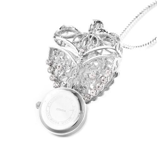 STRADA Japanese Movement Crystal Studded Hollow Heart Locket Watch