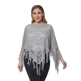 Spring Collection - Rose Pattern Hollow Out Poncho with Fringe Hem in Grey (Free Size; Length 50Cm)