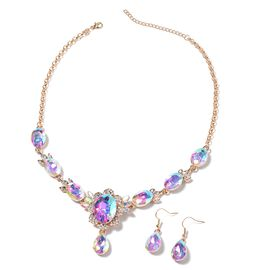 2 Pcs Set White Mystic Color Glass and White Crystal Necklace and Hook Earring 20 Inch