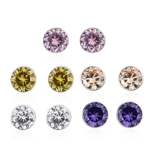Set of 5 - ELANZA AAA Simulated Diamond (rnd 5mm)  Stud Earrings (with 5 Push Back) in Sterling Silver