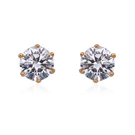 ELANZA Simulated Diamond Solitaire Stud Earrings in Gold Plated Sterling Silver With Push Back