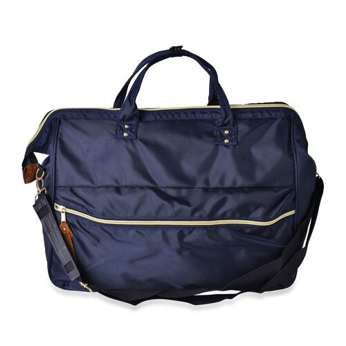 One Time Deal-Classic Dark Navy Unisex Large Travel Bag with Adjustable Shoulder Strap (Size 44X34X19 Cm)