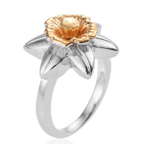 Platinum and Yellow Gold Overlay Sterling Silver Daffodil Flower Ring