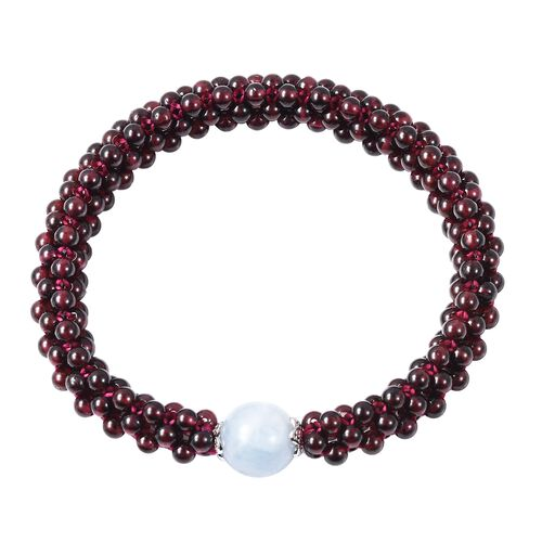 Espirito Santo Aquamarine and Mozambique Garnet Stretchable Beads Bracelet (Size 6.5) in Rhodium Overlay Sterling Silver 105.00 Ct.