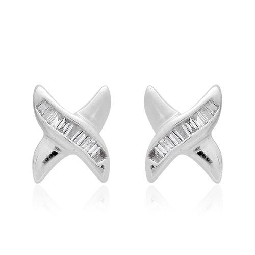 9K White Gold 0.10 Ct. Diamond (Bgt) Stud Earrings (with Push Back) SGL Certified (I3/G-H)