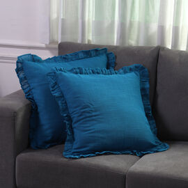 Set of 2  Cottton Linen Solid Cushion Cover with Ruffled Flange (Size - 45x4 Cm) - Teal