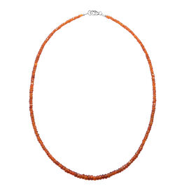 70 Ct Orange Kyanite Beaded Necklace in Rhodium Plated Sterling Silver