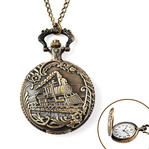 STRADA Japanese Movement Train Pattern Pocket Watch with Chain (Size 31) in Antique Bronze Tone