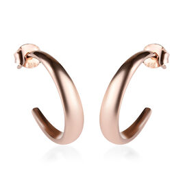 Rose Gold Overlay Sterling Silver Half Hoop Earrings (with Push Back), Silver wt 6.59 Gms