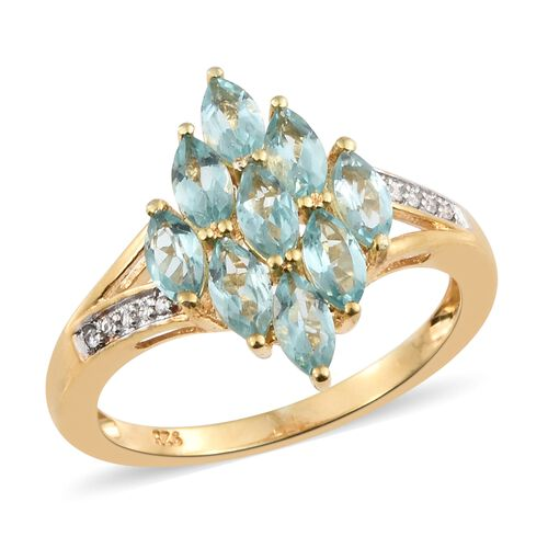 Paraiba Apatite (Mrq), Natural White Cambodian Zircon Ring in 14K Gold Overlay Sterling Silver 2.250 Ct.